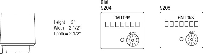 Model 9204-9208 Contoil® Oil Meter Dimensions