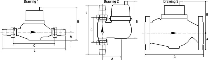 Water Meter Model 1800 Series Multi-Jet Dimensional Drawings