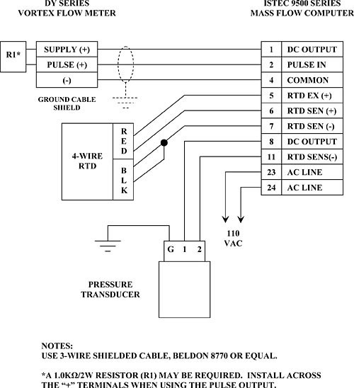 Wiring Diagram for Model 9595 Multi-Function Flow Computer Display